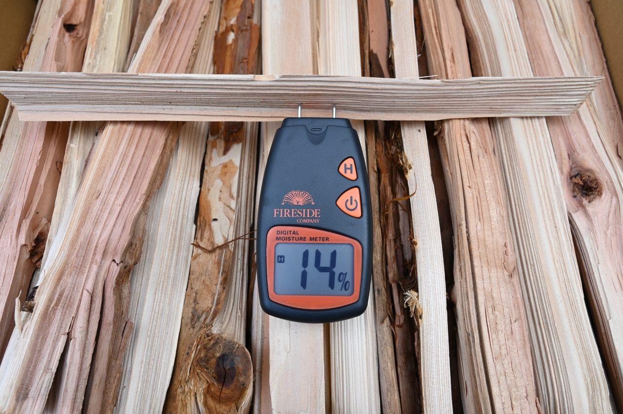 群馬県みなかみ町のふるさと納税返礼品の針葉樹薪を計測