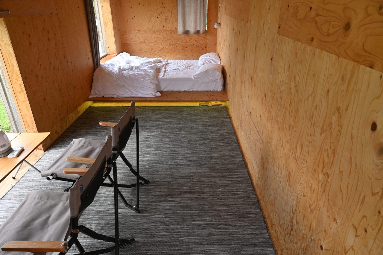 スノーピーク本社のモバイルハウス住箱は最大4名まで利用可