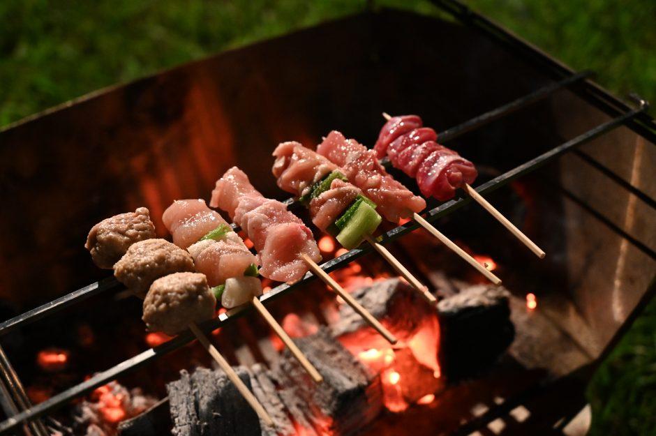 キャンプのとき炭火で焼いた焼き鳥は絶品