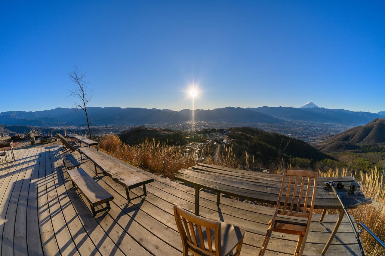 ほったらかしキャンプ場の最上段から眺める景色