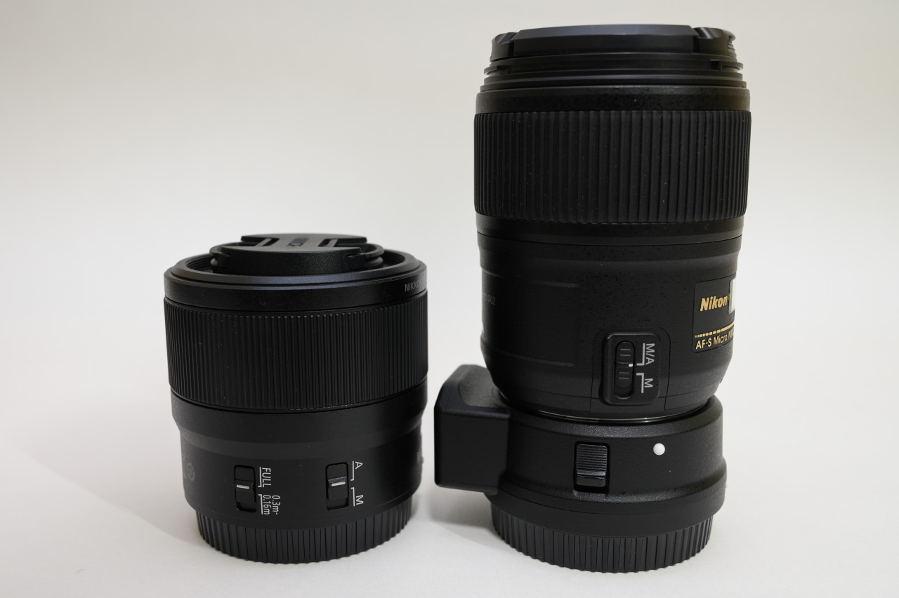 Z MC 50mmとAF-S Micro 60mmのスイッチ類を比較