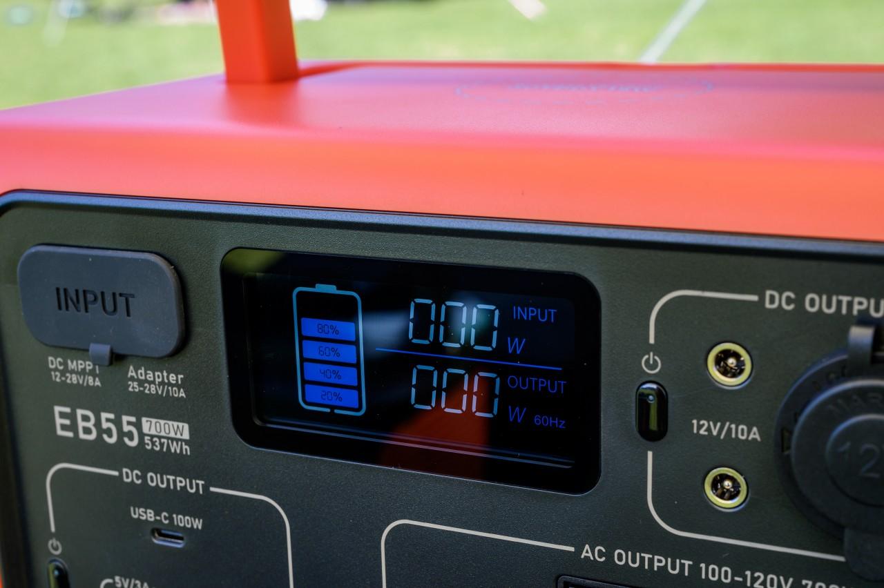 ポータブル電源「BLUETTI EB55」は残量が目盛り方式