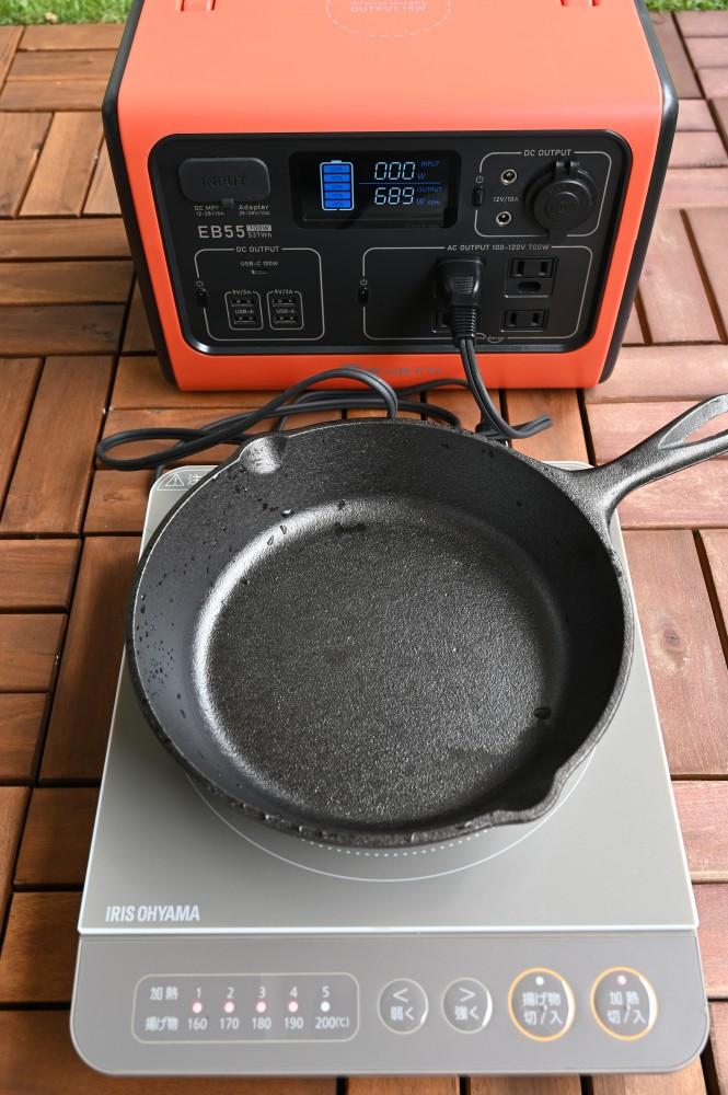 卓上IHクッキングヒーターとポータブル電源でどこでも加熱調理可能